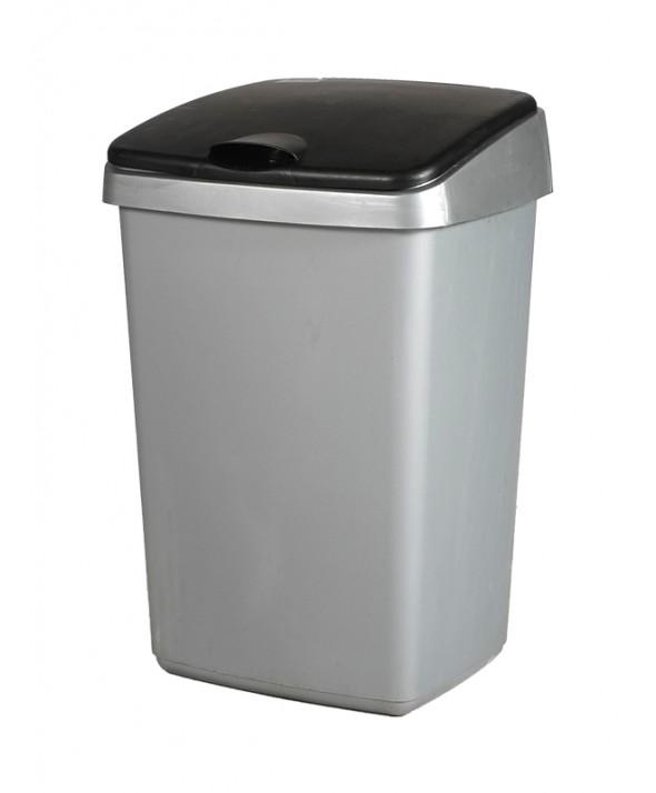 Afvalbak grijs met deksel 50 liter