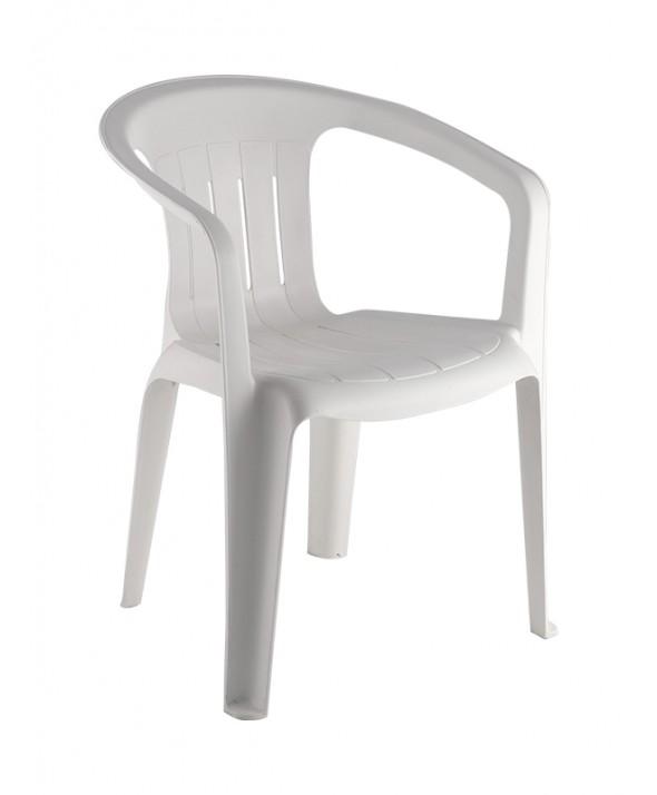 Kunststof terrasstoel wit met armleuning