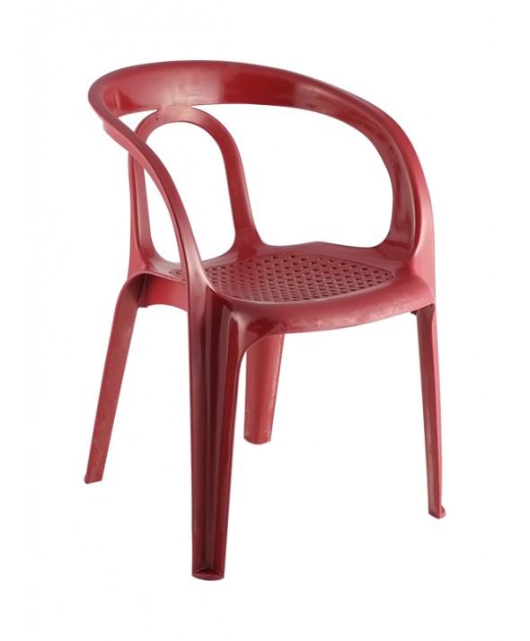 Kunststof terrasstoel rood met armleuning