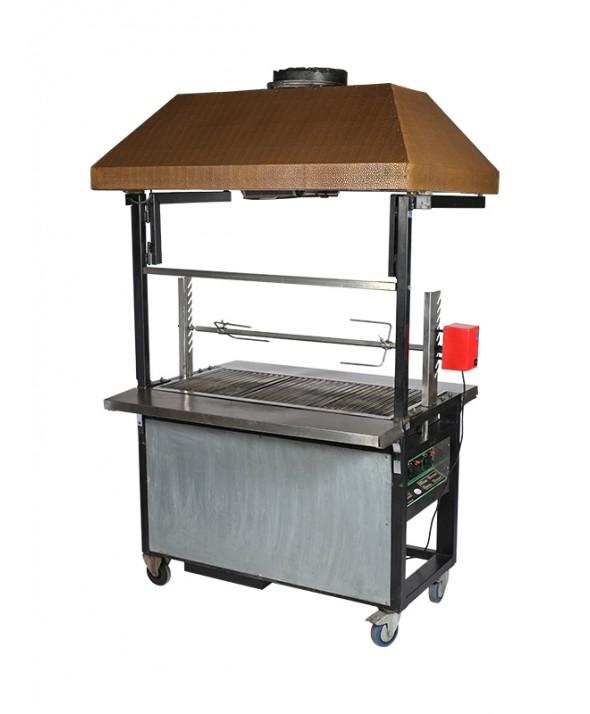 Barbecue gas met afzuigkap en elektrisch spit 75 pers.